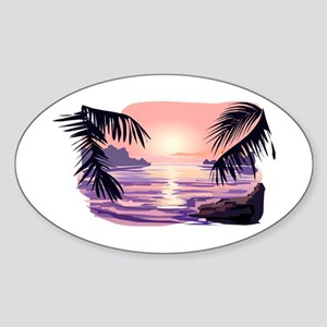 TROPICAL SUNSET [2] Sticker (Oval)